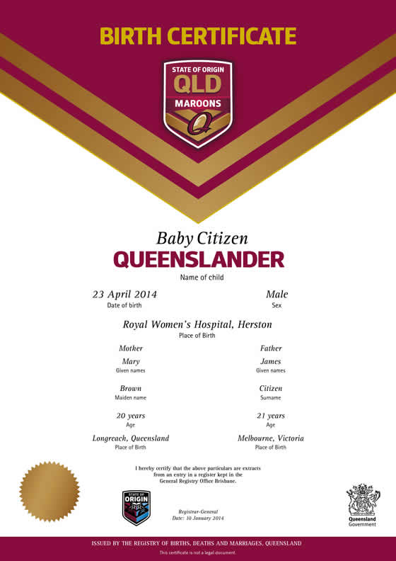Queensland commemorative birth certificates | Your rights, crime