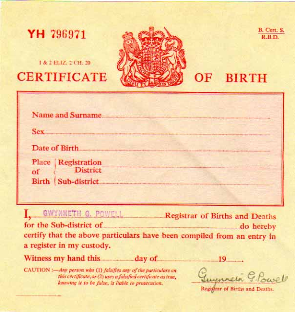 birth certificate uk