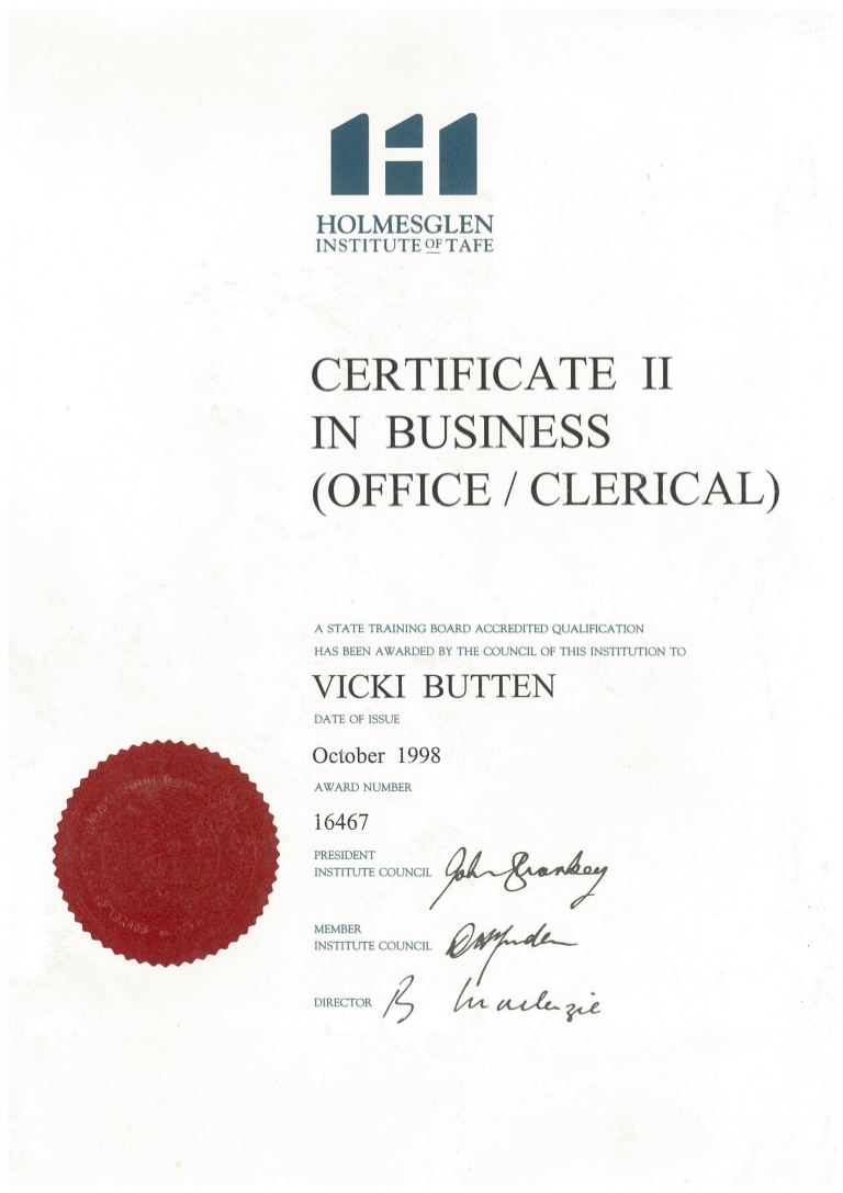 Certificate II in Business