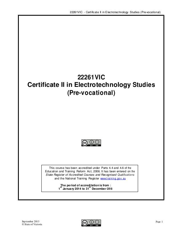Cert II in Electrotechnology expert panel report.