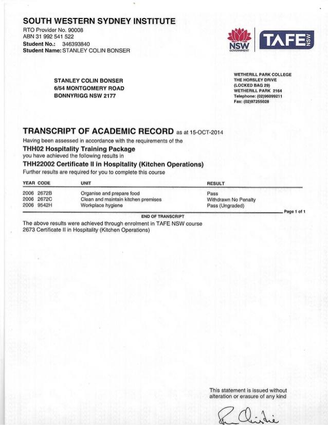 SIT20316 – Certificate II in Hospitality | Kordon