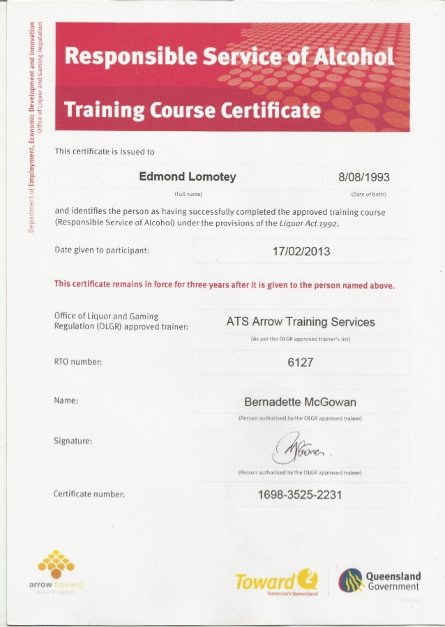 Certificate II in Hospitality training program