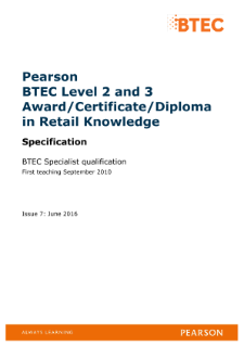 BTEC Specialist | Retail Knowledge (L2) | Pearson qualifications