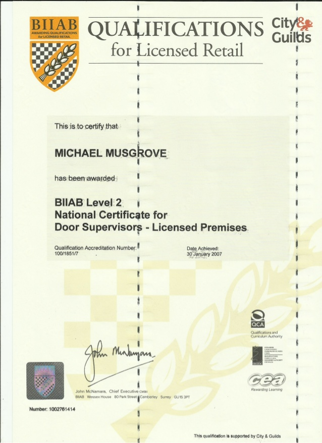 Level 2 City & Guilds Certificate for Door Spuervisor in Licensed Ret…