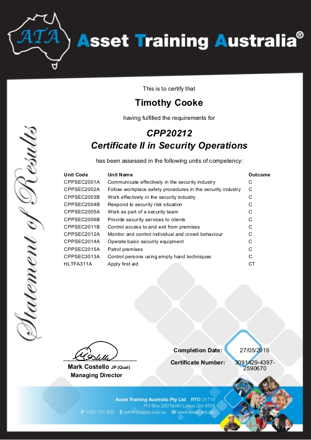 Tim Certificate II in Security Operations (1)