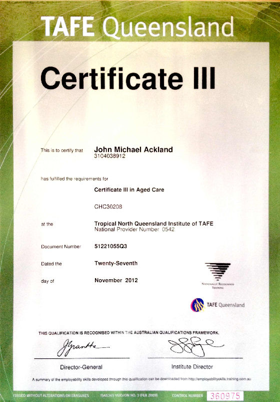 Certificate 3 In Aged Care Certificates Templates Free