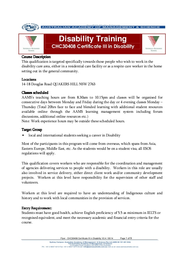 Australian Academy of Management & Science Flyer chc30408 certificate…
