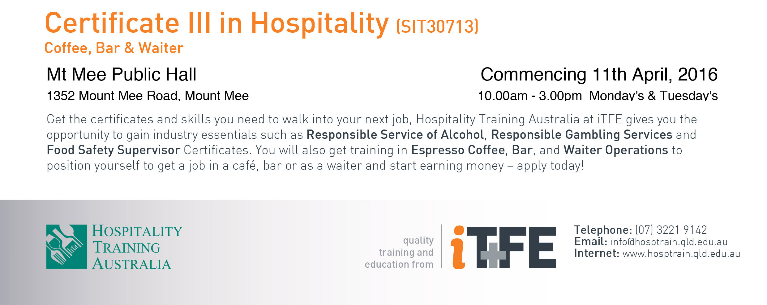 mountmee.com.au – Certificate 3 in Hospitality at Mount Mee Hall