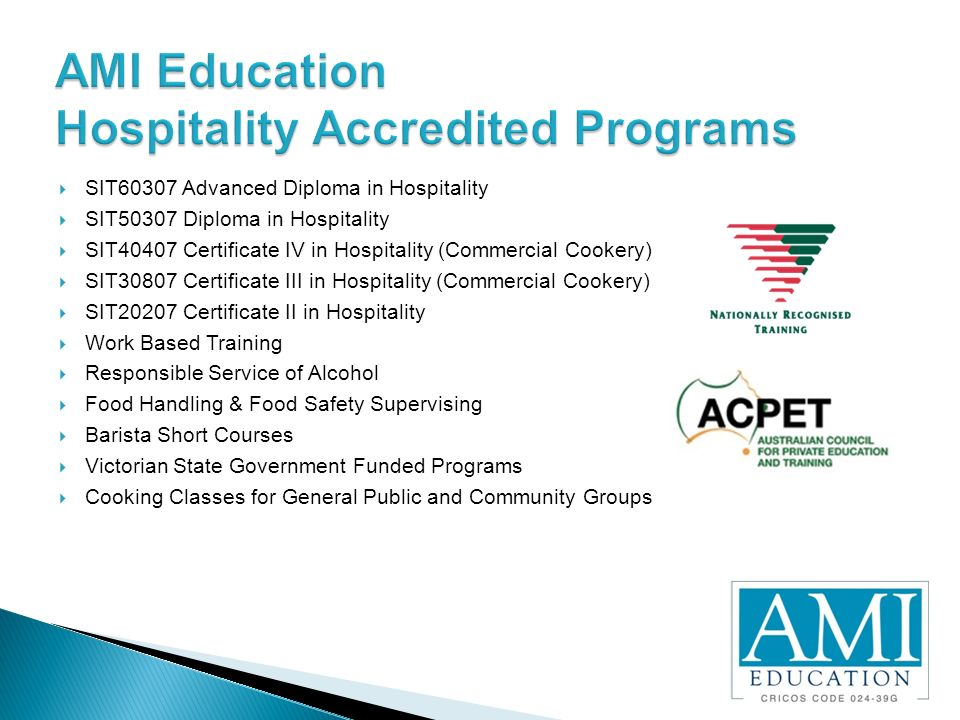 Certificate III in Hospitality – Statewide Business Training