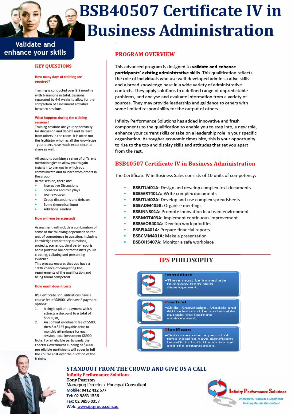 Infinity Performance Solutions BSB40507 Certificate IV in Business