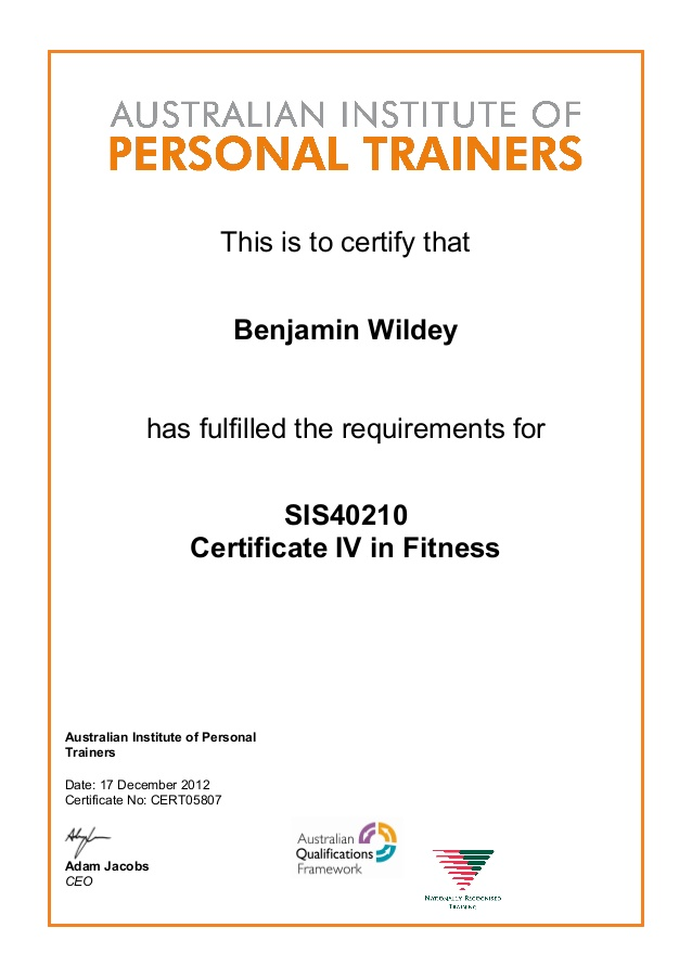 Certificate IV in Fitness SIS40210 AIPT Dec 2012