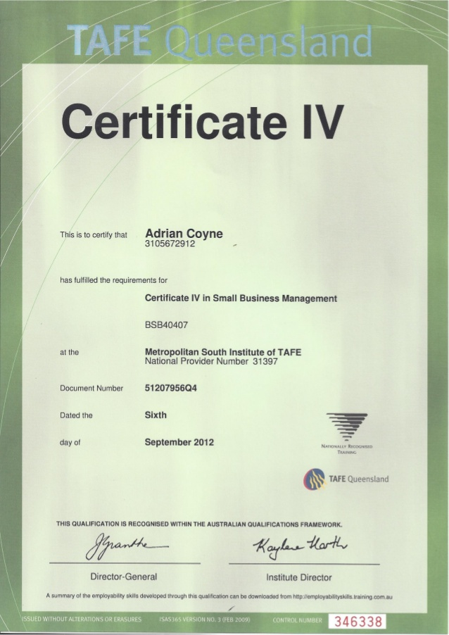 QLD Certificate 4 Small Biz Mng