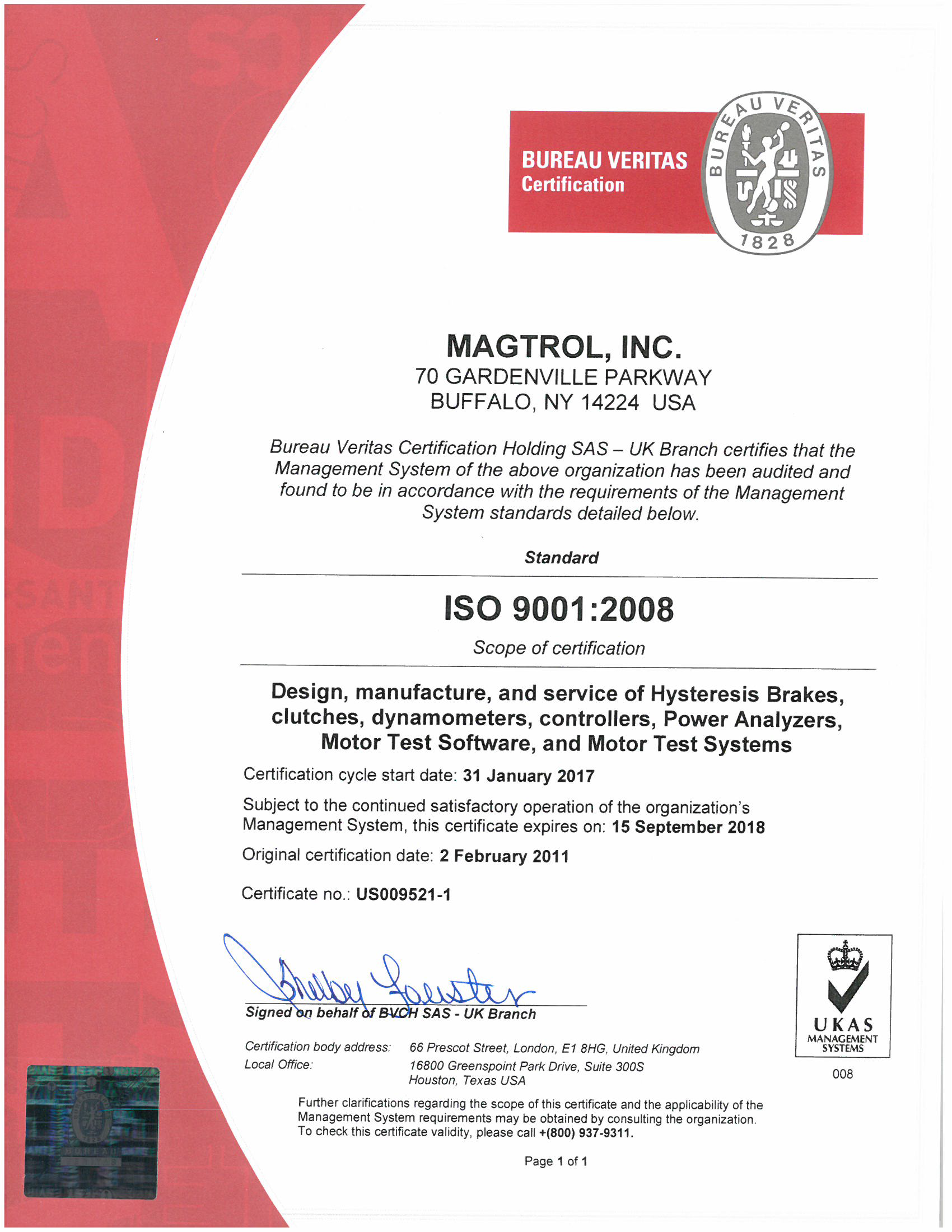ISO 9001:2001 Certificate