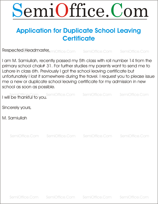 Sample Application Letter For Duplicate School Leaving Certificate