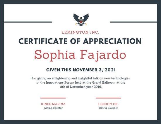 Appreciation Certificate Templates Canva