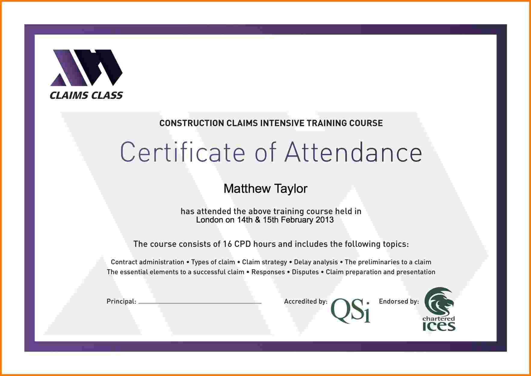 5 attendance certificate | Receipt Templates
