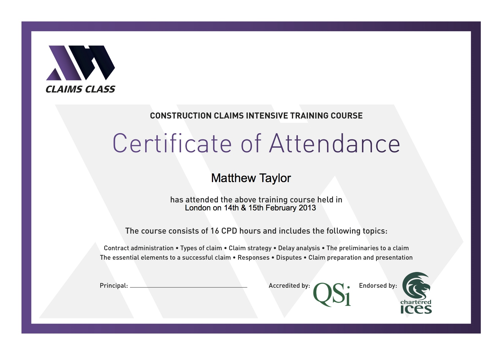Certificate of Attendance Editable pdf document