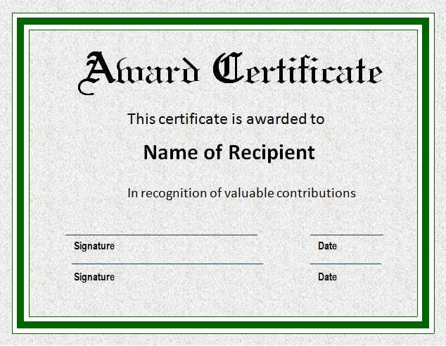 sample award certificate template 6 award certificate templates