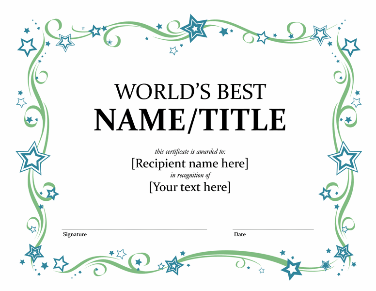 Certificate Award Template Word