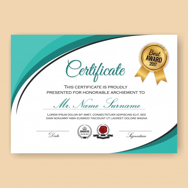 Modern Verified Certificate Background Template with Turquoise