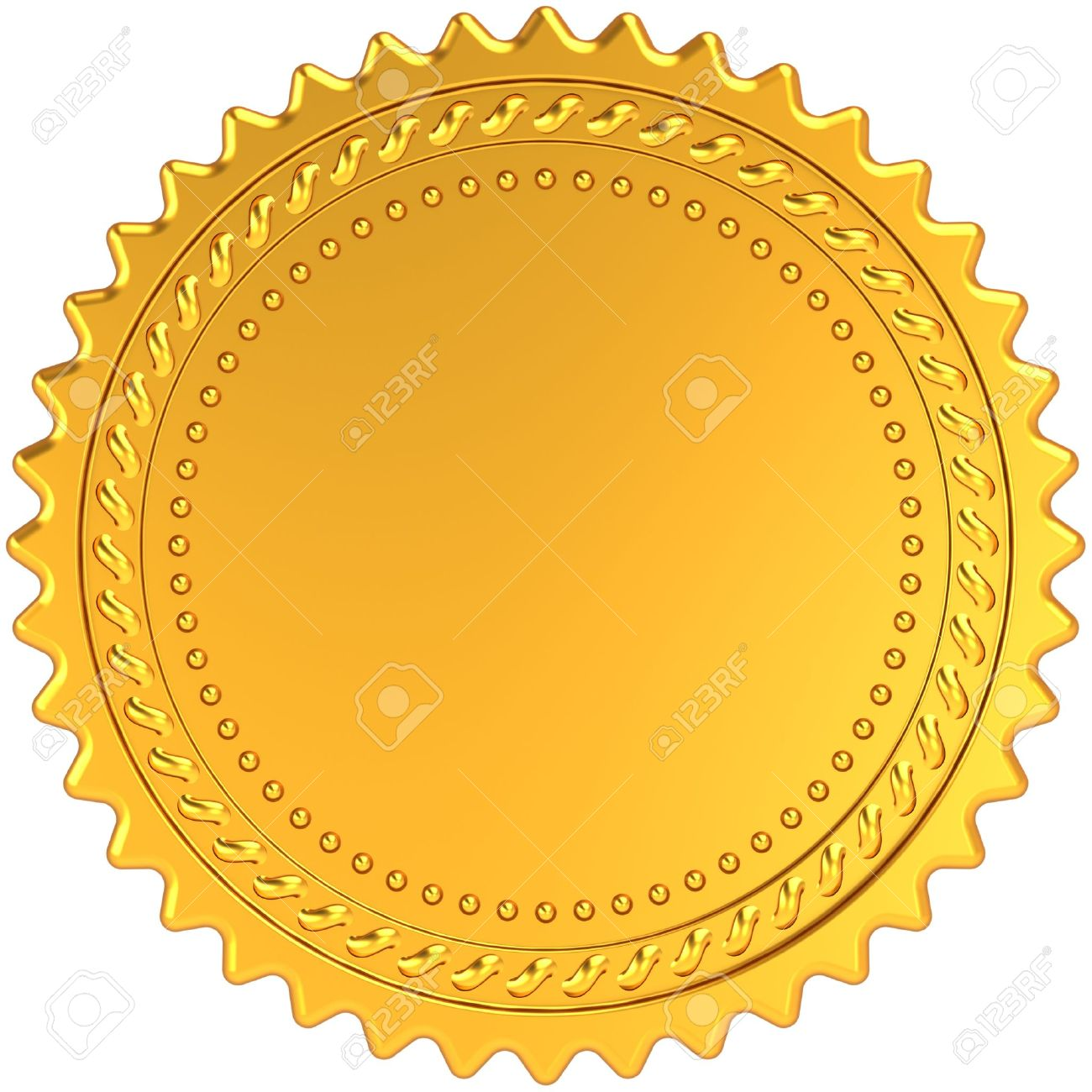 Golden Award Medal Blank Seal. Luxury Champion Badge Label