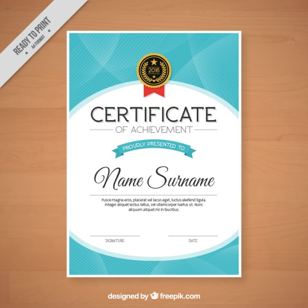 Abstract certificate with a badge Vector | Free Download