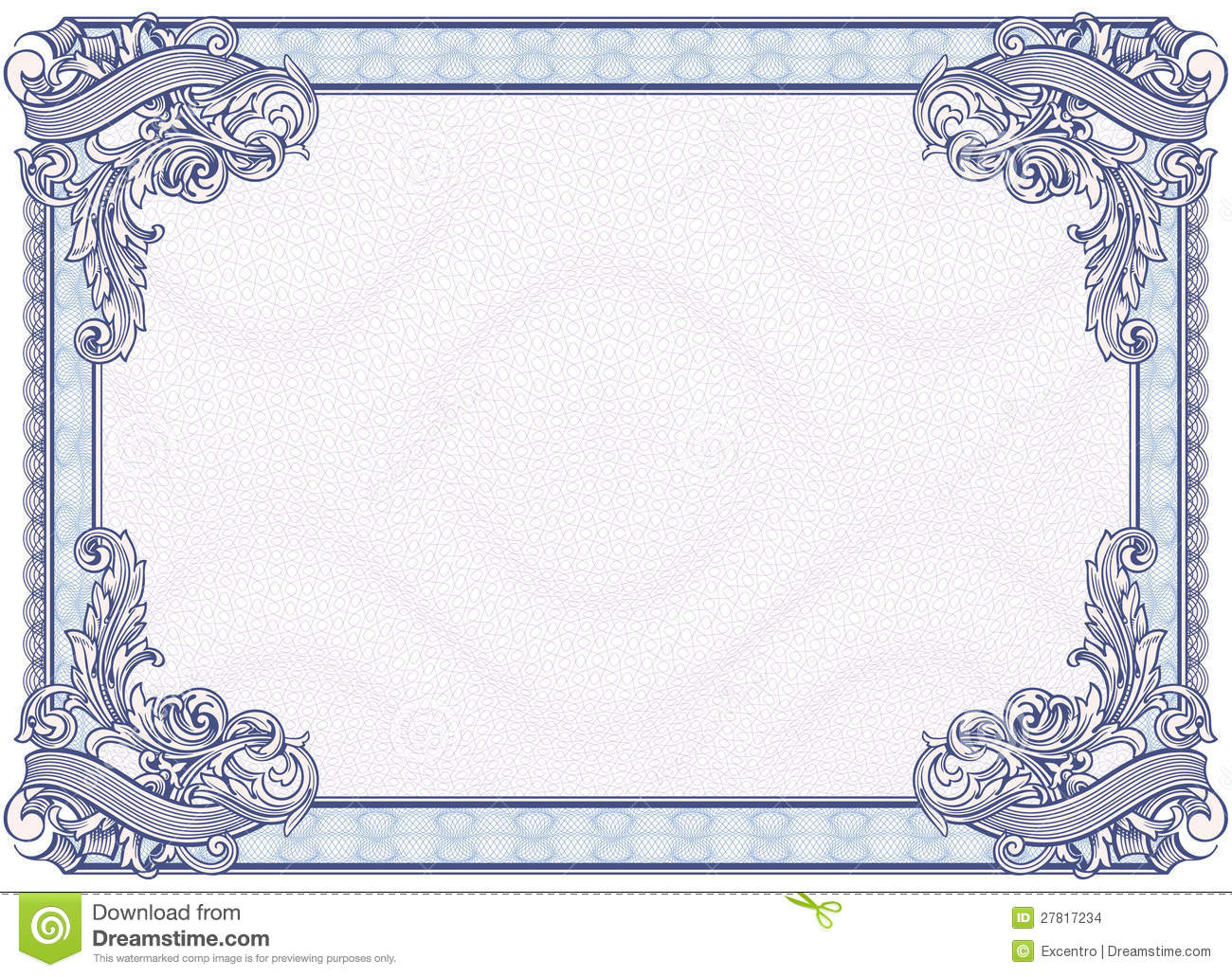 Blank Diploma Or Certificate Stock Vector Image: 27817234