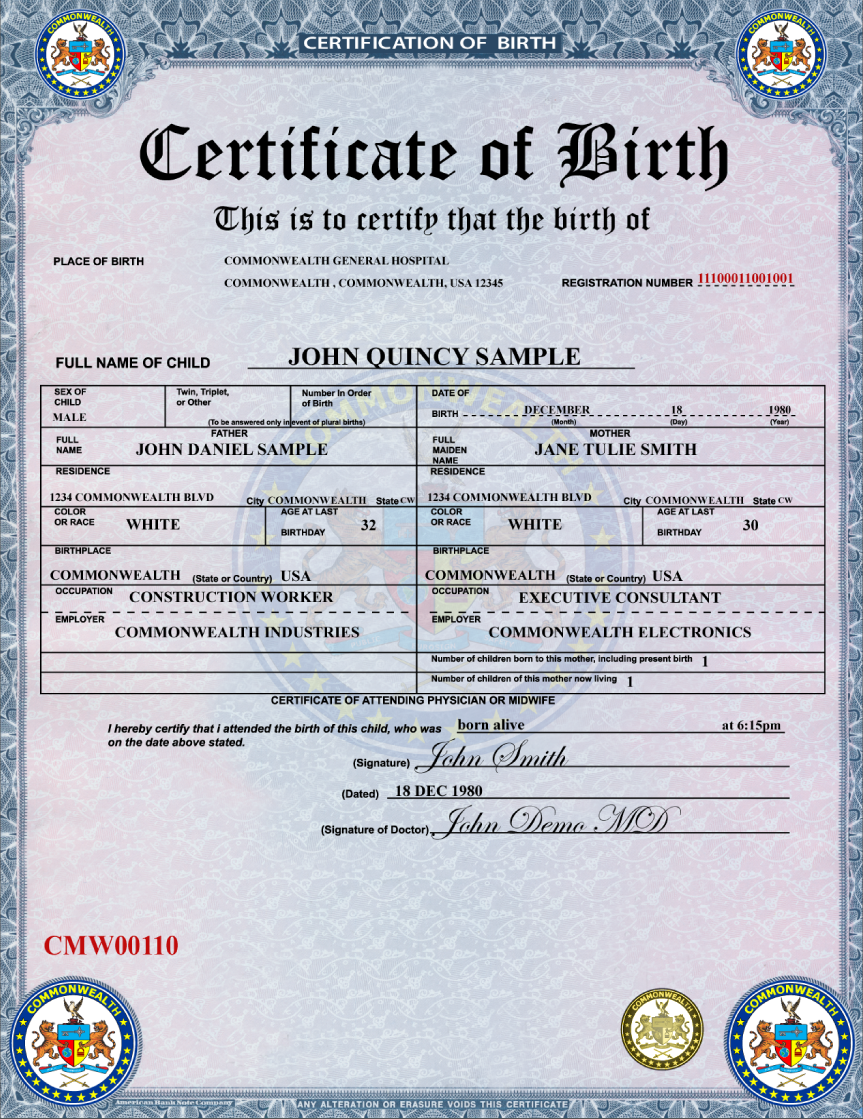 Eurosign, Inc. › learn more about the Birth Certificate module