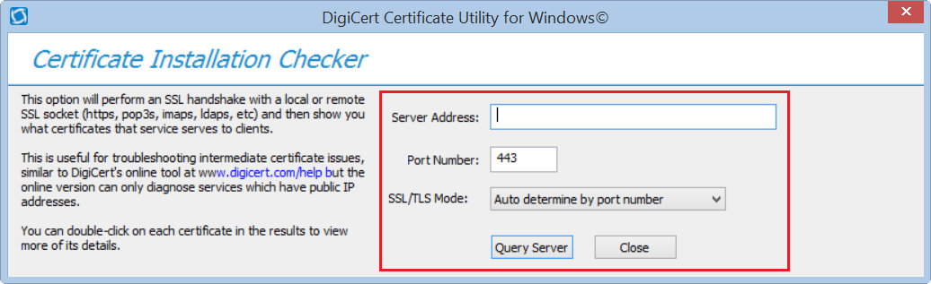 Checking Certificate Installation with the DigiCert Utility