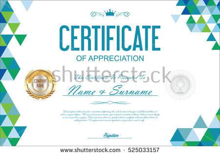 Certificate Template Abstract Geometric Design Background Stock