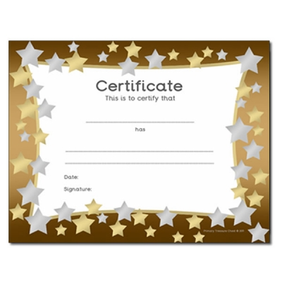 Certificates and Rewards Primary Treasure Chest