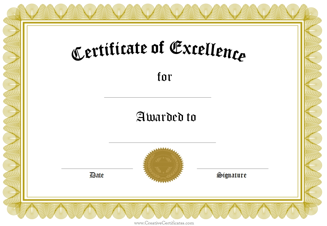 Editable Certificate of Excellence Template with Yellow Border and
