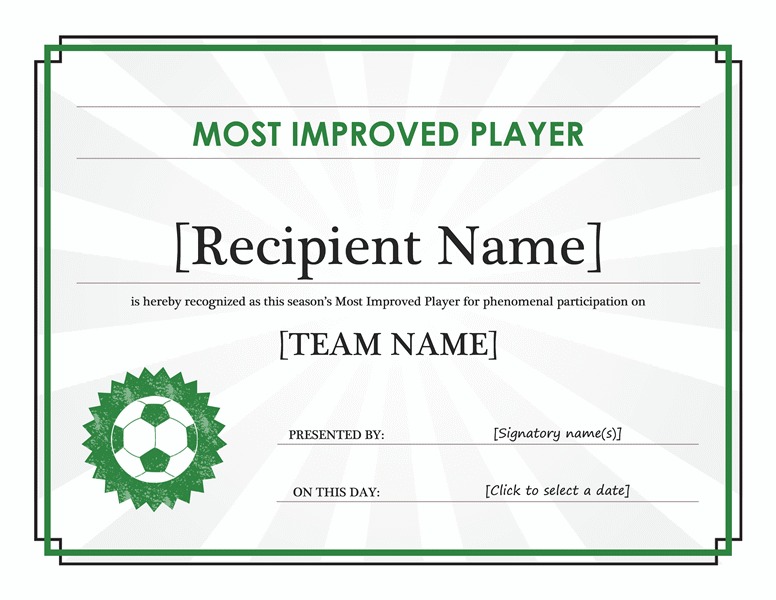 Most Improved Player certificate (editable title) Office Templates