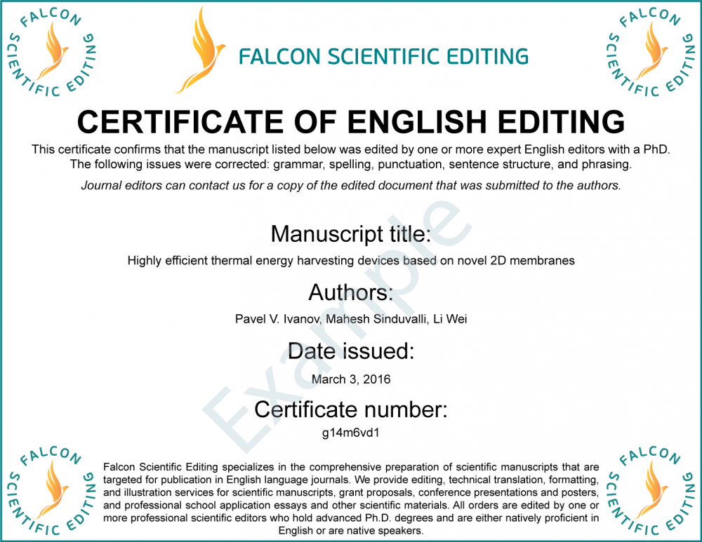 Free Editing Certificate with Every Editing Order