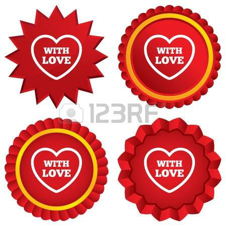 Heart Sign Icon. Love Symbol. Red Stars Stickers. Certificate