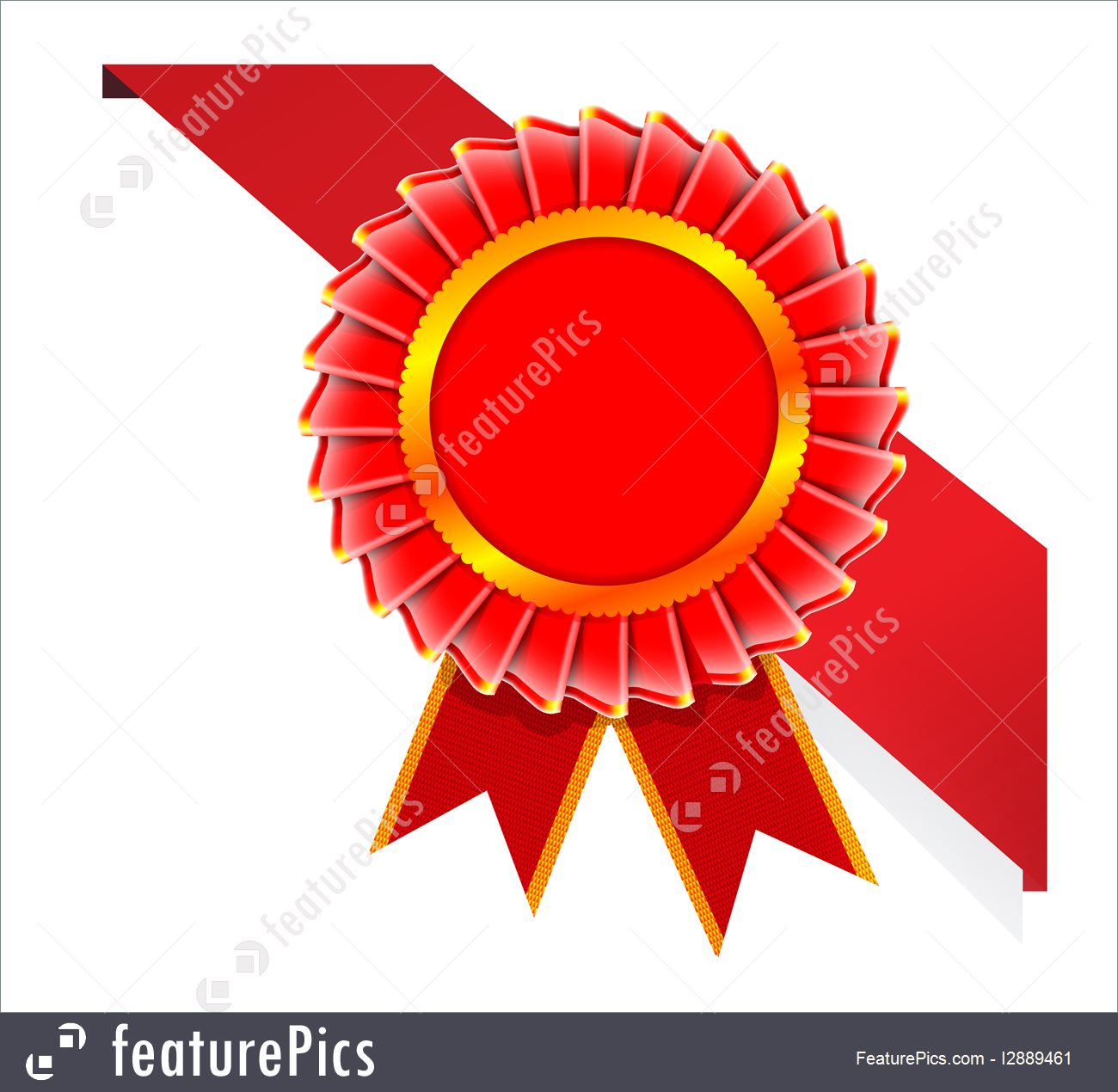 Emblems And Symbols: Vector Corner Ribbon And Quality Certificate