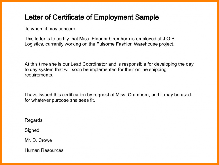 4+ employee certification letter mail clerked