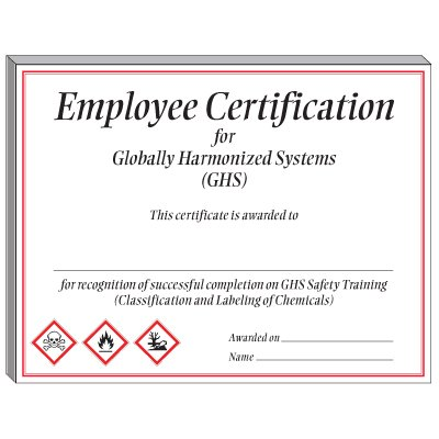 GHS Training Certificate Employee Certification from Seton.