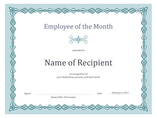 Certificate for Employee of the Month (blue chain design) Office