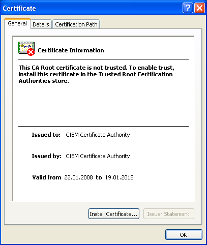 Security certificate error on the CIBM intrawebsite CIBM