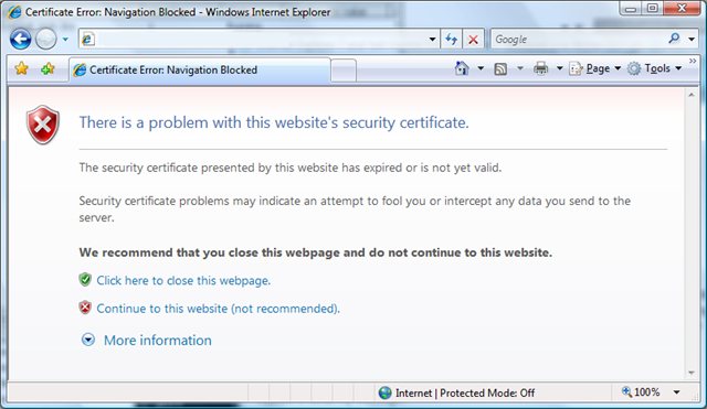 Self Signed Certificates in IE7