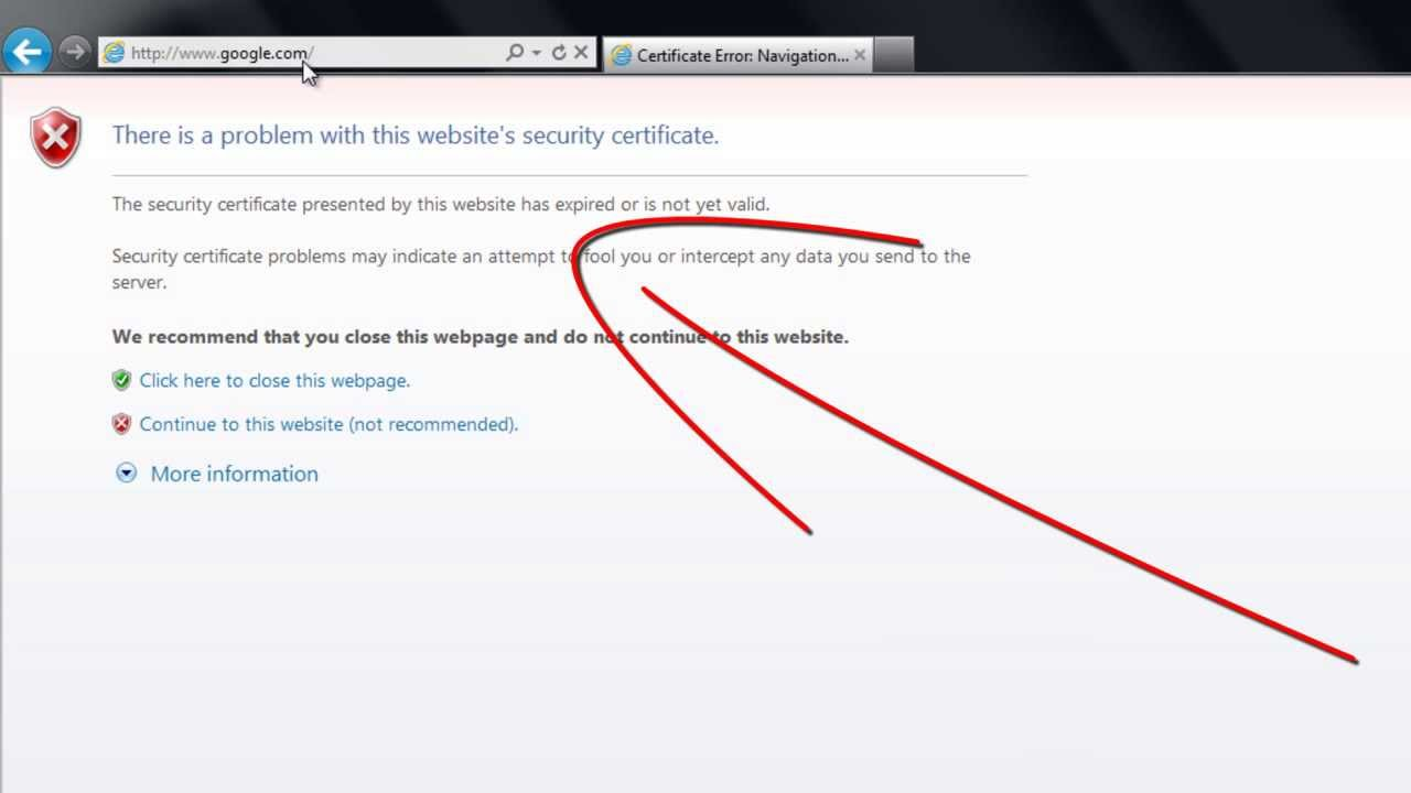 How to Remove Security Certificate error on InterExplorer