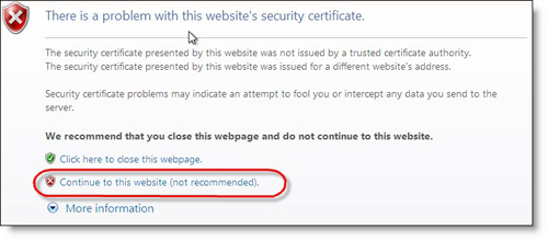 Certificate Error in InterExplorer