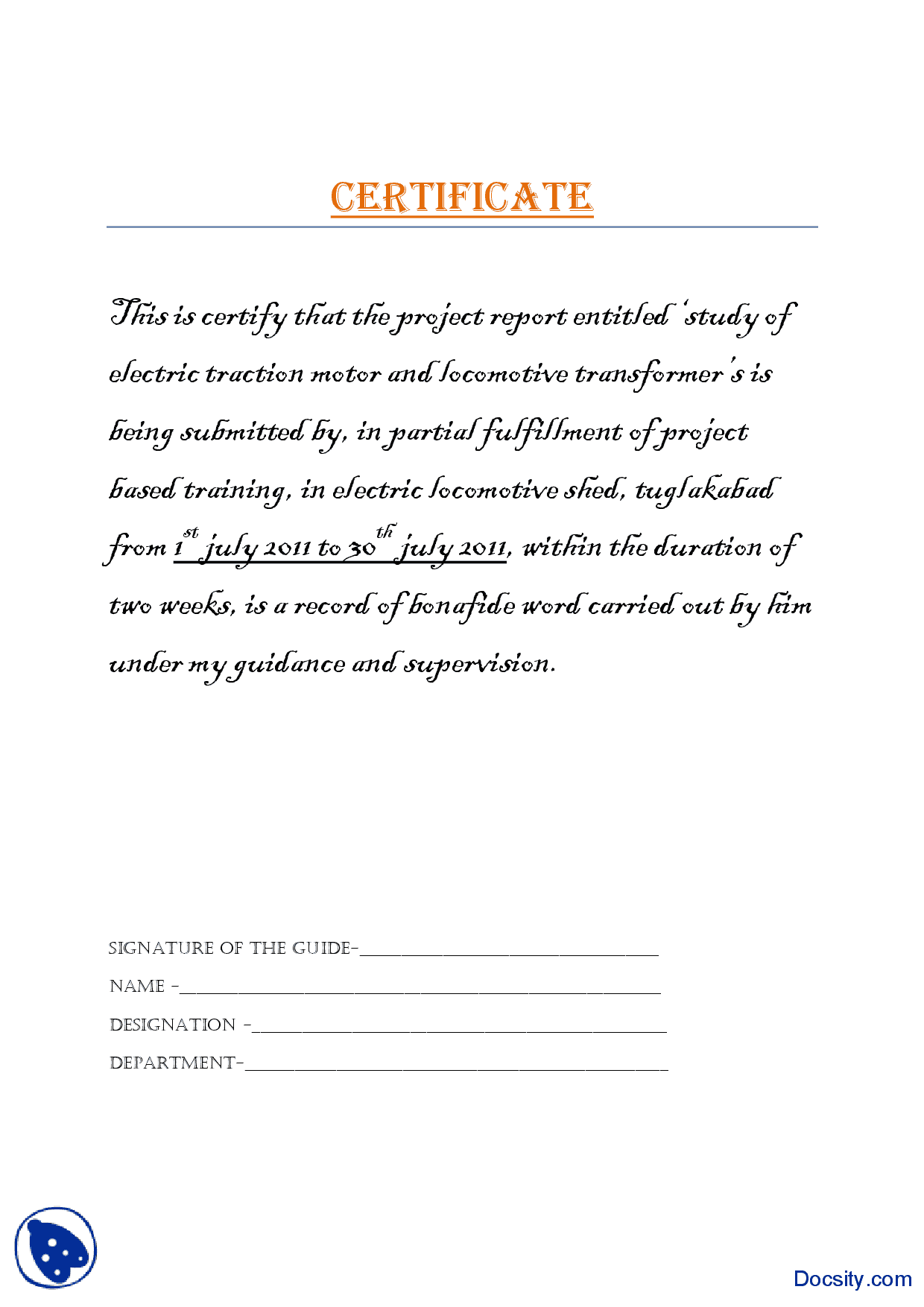 Project Certificate Electrical Engineering and Industries Report