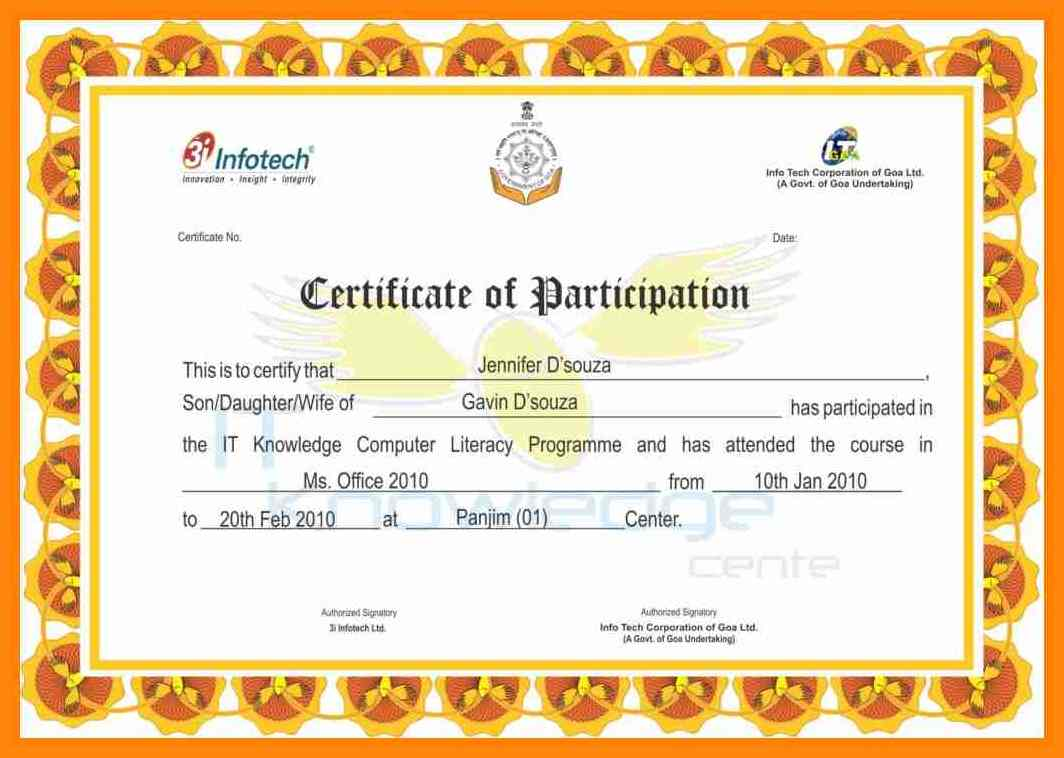 Certificate Format Certificates Templates Free