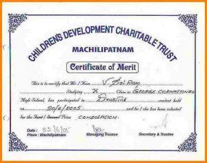 Certificate Format  Merit Certificate Sample
