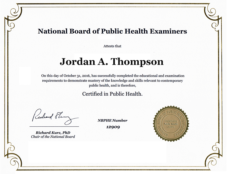 National Board of Public Health Examiners Gold Engraved