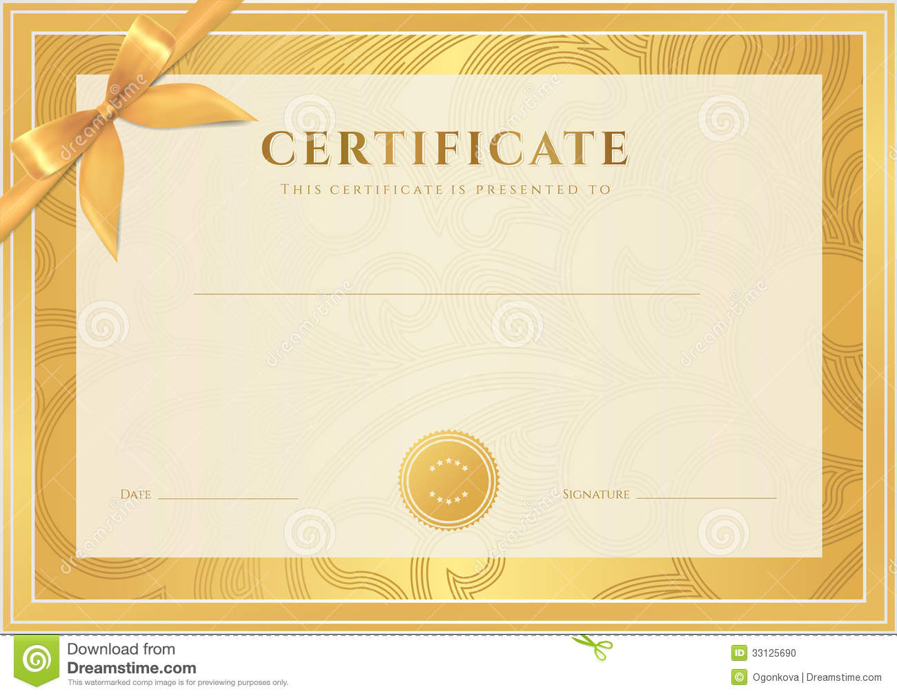 Certificate, Diploma Template. Gold Award Pattern Stock Vector