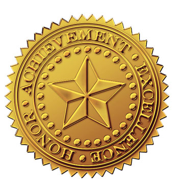 Gold Foil Emb. Star Certificate Seal [DP903419] : Designer Papers