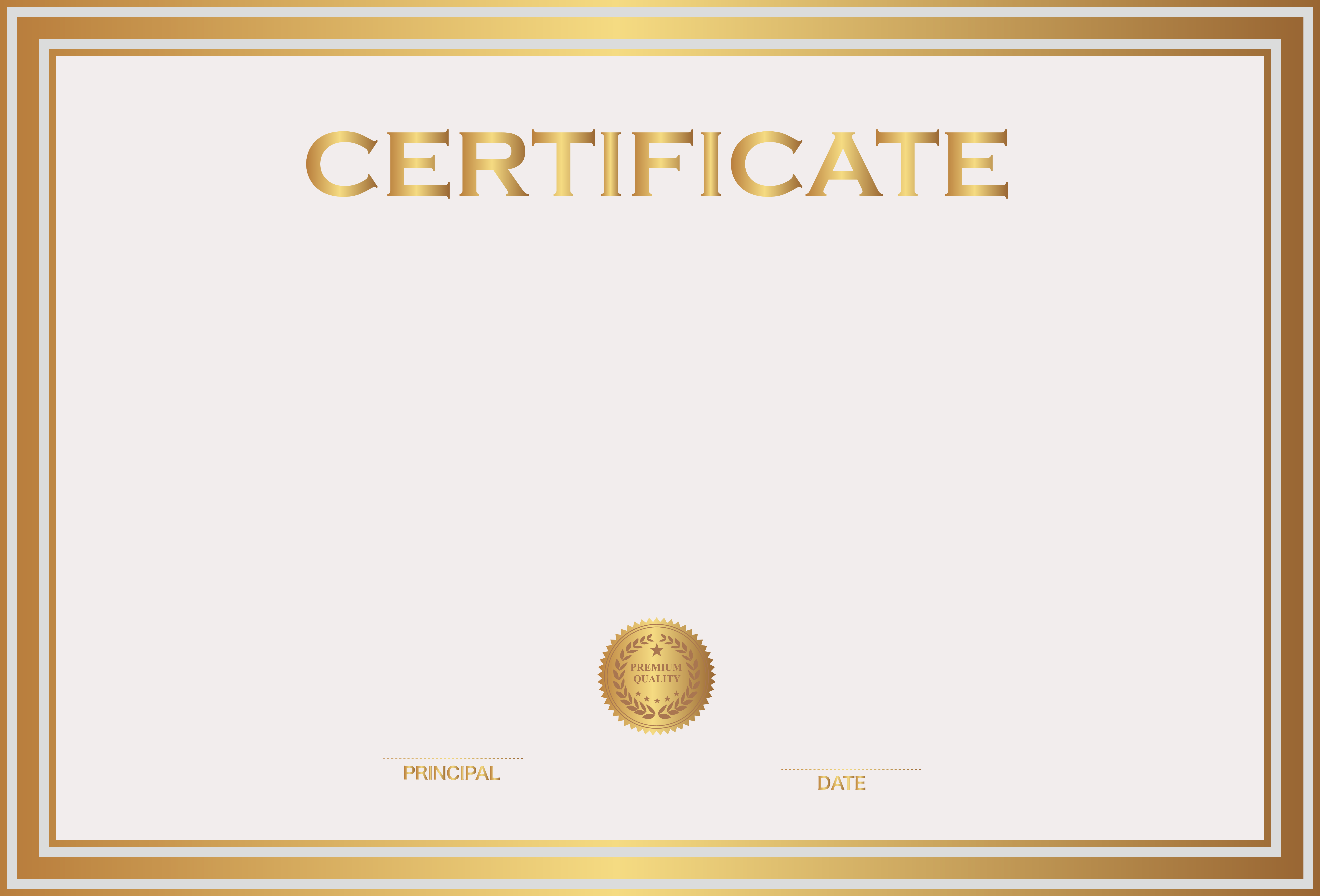 White and Gold Certificate Template PNG Image​ | Gallery